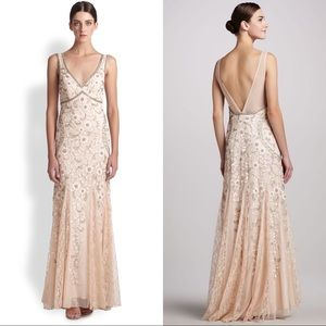 Sue Wong blush beaded floral embellished gown 14